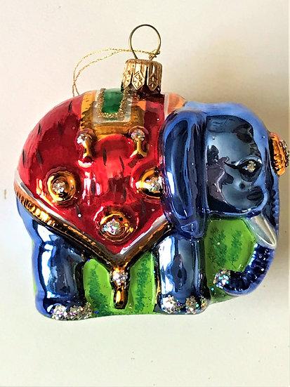 "Thomas Glenn ""Elephant - Blue"" Molded Christmas Ornament"