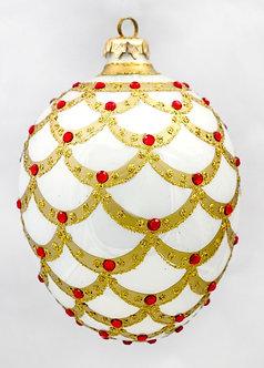 "#704W - Thomas Glenn ""White Pinecone"" Faberge Egg Ornament"