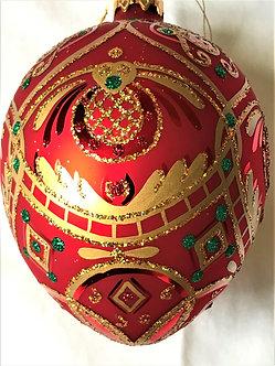 """Thomas Glenn """"Egg - Green/Gold/Red"""" Faberge Egg Christmas Ornament"""