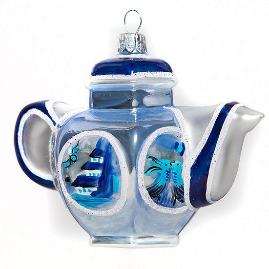 "#102 - Thomas Glenn ""Blue and White Teapot"" Ornament"