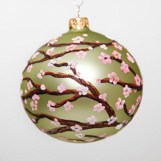 "#1643G - Thomas Glenn ""Plum Blossom - Light Green"" Ball Christmas Ornament"
