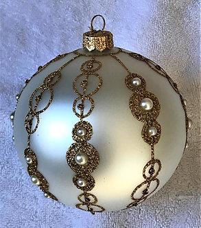 "#14-2018W - Thomas Glenn ""Eleanor - White and Gold"" Ball Ornament"