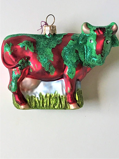 "Thomas Glenn ""Cow - Red"" Molded Christmas Ornament"