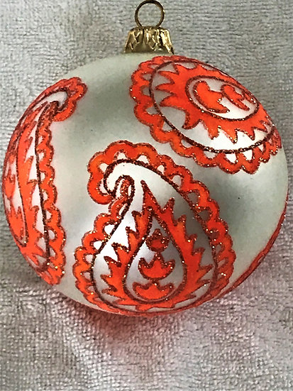 "#735OR-W - Thomas Glenn ""Paisley - Orange"" Ball Christmas Ornament"