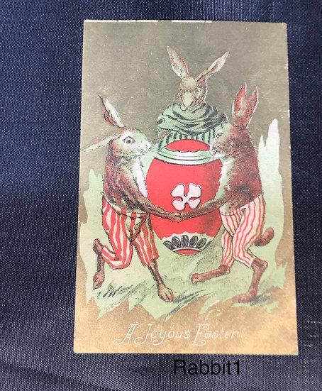 Vintage Easter Postcard with Dancing Rabbits