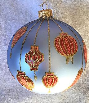 "#1773R - Thomas Glenn ""Lanterns - Red"" Ball Ornament"