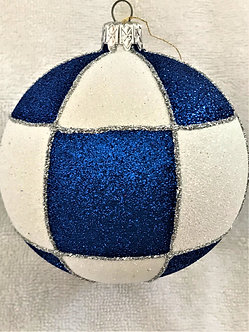 "#536 - Thomas Glenn ""Check - Blue & White"" Ball Christmas Ornament"