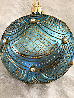 "#633LB - Thomas Glenn ""Scallop- Light Blue"" Ball Christmas Ornament"