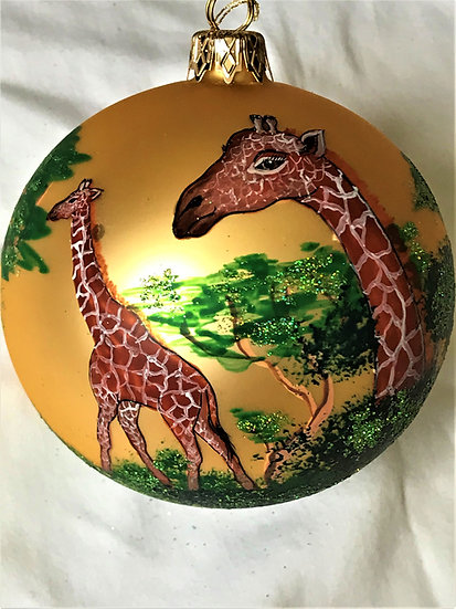 "#917 - Thomas Glenn ""Giraffes"" Ball Christmas Ornament"