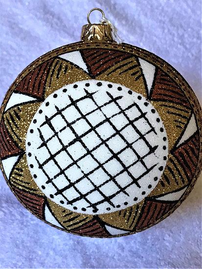 "#743 - Thomas Glenn ""Gold Africa - Large"" Ball Christmas Ornament"