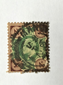 "Stamps ""Great Britain #133"" 4p gray brown/green, Used"