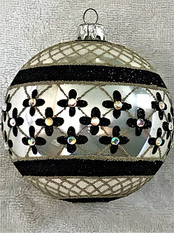 "#635BK-W-O - Thomas Glenn ""Coronation - Black & White"" Ball Christmas Ornament"