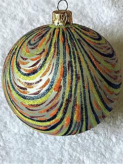 "#368X - Thomas Glenn ""Swirl in Blue-Orange-Yellow"" Ball Christmas Ornament"