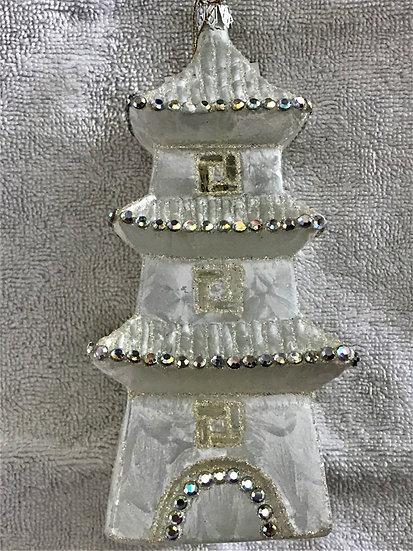 """#653 - Thomas Glenn """"Pagoda - Clear"""" Molded Christmas Ornament"""