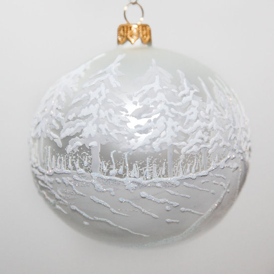 "#2054 - Thomas Glenn ""First Snowfall"" Ball Christmas Ornament"