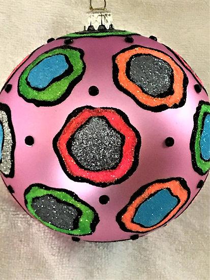 "#737 - Thomas Glenn ""New Glitter on Purple"" Ball Christmas Ornament"