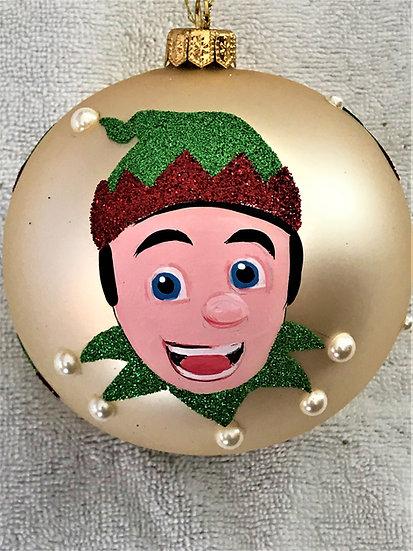 "#1833 - Thomas Glenn ""Santa's Helper"" Ball Christmas Ornament"