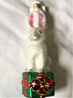 "#827 - Thomas Glenn ""Hare on Boxes"" Molded Figural Christmas Ornament"