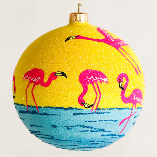 "#1843 - Thomas Glenn ""Pink Flamingo"" Ball Ornament"