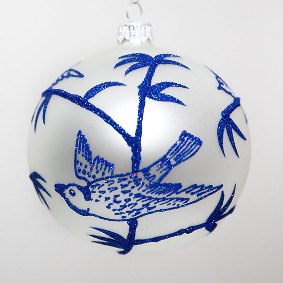 "#2073 - Thomas Glenn ""Birds In Bamboo"" Ball Christmas Ornament"