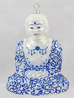 "#Buddha-BW - Thomas Glenn ""Buddha Blue & White"" Molded Christmas Ornament"