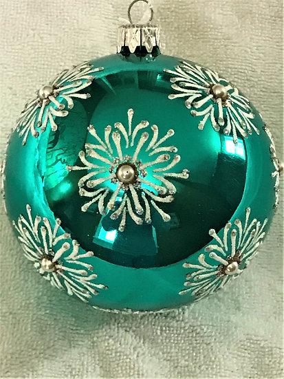 "#758 - Thomas Glenn ""Snowflake Turquoise"" Ball Christmas Ornament"