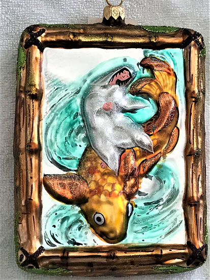 "#113 - Thomas Glenn ""Goddess on Fish"" Rectangular Christmas Ornament"