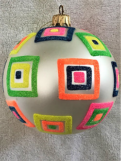 "#521 - Thomas Glenn ""White Ball with Squares"" Ball Christmas Ornament"