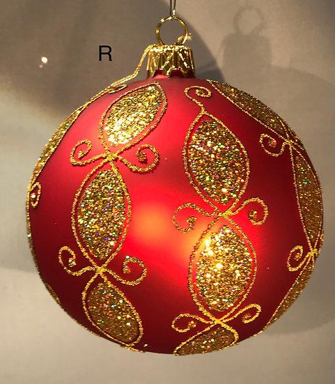 "Thomas Glenn ""Modern Gold on Red"" Faberge Egg Ornament #R"
