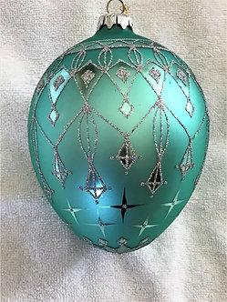 """#117T - Thomas Glenn """"Blue Egg"""" Egg Christmas Ornament"""