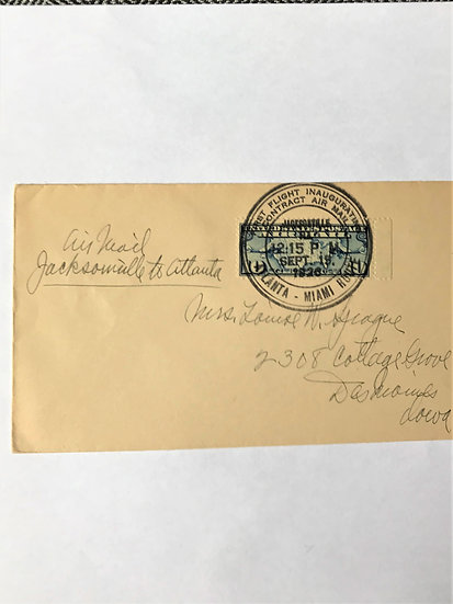 """Stamps - US Covers - """"C7 First Flight Atlanta-Miami Route"""" 1926 Jacksonville"""
