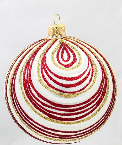 "#368 - Thomas Glenn ""Red and Gold Swirl"" Ball Ornament"