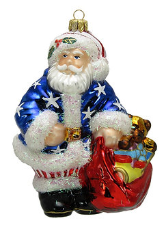 "Thomas Glenn ""Patriotic Santa"" Figural Blown Glass Ornament"