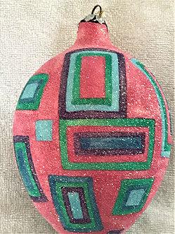 "#71RSP - Thomas Glenn ""Egg with Squares - Raspberry"" Egg Christmas Ornament"