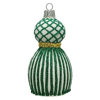 """#1656GR-W - Thomas Glenn """"Green and White Tassel"""" Molded Ornament"""