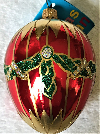 "#430R - Thomas Glenn ""Medium Red Egg with Swag"" Faberge Egg Ornament"
