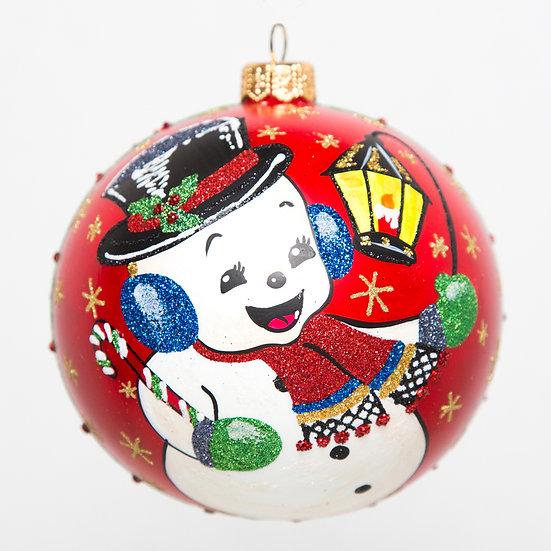 "#1783 - Thomas Glenn ""Lamplighter"" Retro Snowman Ornament"