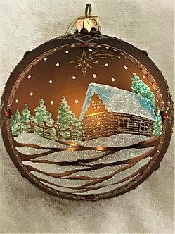 "#908 - Thomas Glenn ""Cabin - Brown"" Ball Christmas Ornament"