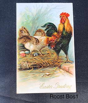 Vintage Easter Postcard with Rooster and Hen