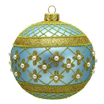 "#635LB - Thomas Glenn ""Light Blue Coronation"" Ball Ornament"