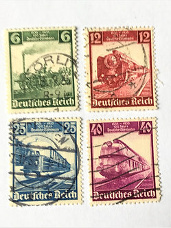"""Stamps """"West Germany #459-62"""" 6, 12, 25, and 40 pf railroad issue of 1935 - Used"""