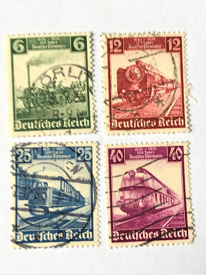 "Stamps ""West Germany #459-62"" 6, 12, 25, and 40 pf railroad issue of 1935 - Used"