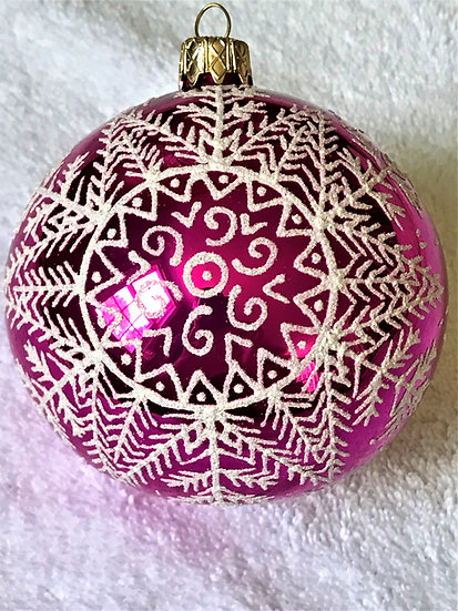 "#95HP - Thomas Glenn ""Snow on Hot Pink"" Ball Christmas Ornament"