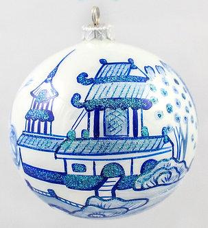 "#75 - Thomas Glenn ""Blue Willow Pagoda"" Ball Ornament"