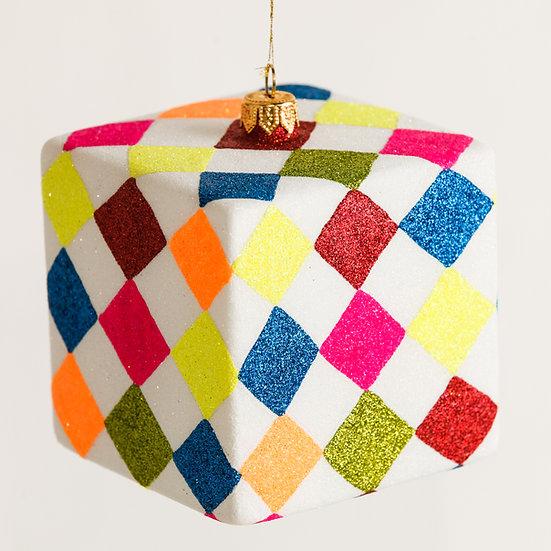 "#205C - Thomas Glenn ""Diamonds"" Cube Ornament"