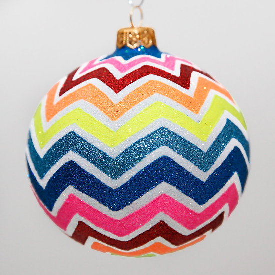 "#2044 - Thomas Glenn ""Chevron"" Ball Christmas Ornament"
