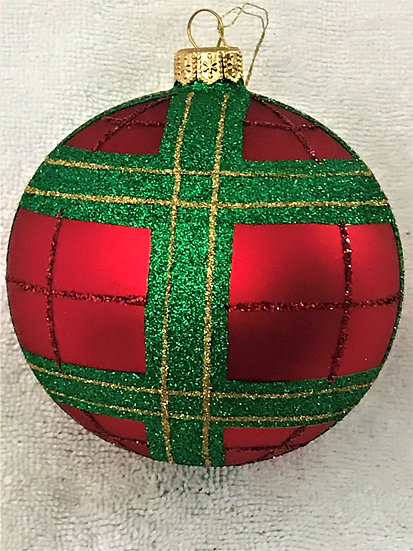 "#1753 - Thomas Glenn ""Christmas Plaid - Prototype"" Ball Christmas Ornament"