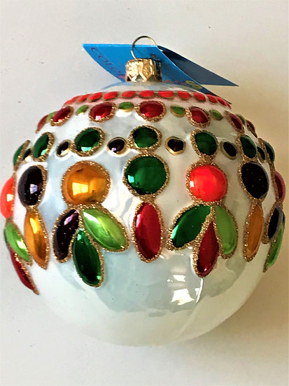 "#17 - Thomas Glenn ""3-D Jewel Colors on White"" Ball Christmas Ornament"