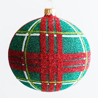 """#1951 - Thomas Glenn """"Christmas Plaid"""" Ball Ornament"""