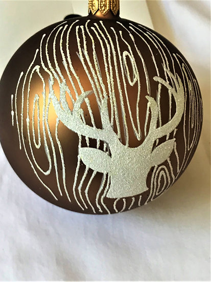 """#14-116BZn- Thomas Glenn """"Deer - Bronze"""" Ball Christmas Ornament"""